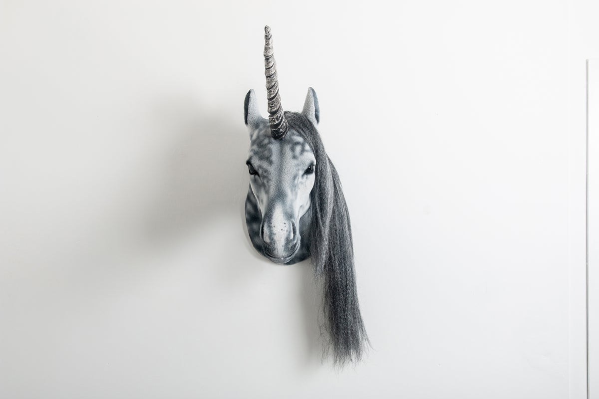 Image of Dapple Grey Unicorn Sculpture