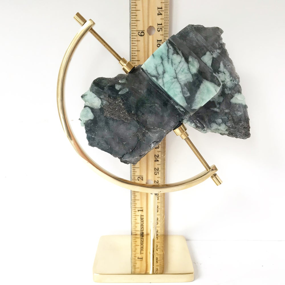 Image of Polished Rough Emerald no.55 + Brass Arc Stand
