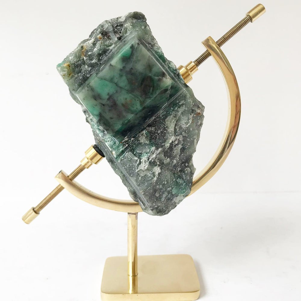 Image of Polished Rough Emerald no.25 + Brass Arc Stand