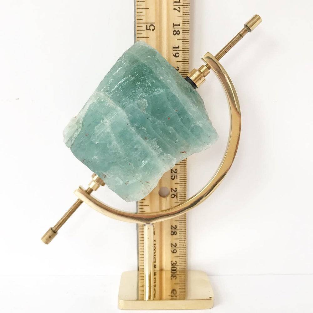 Image of Aquamarine no.96 + Brass Arc Stand