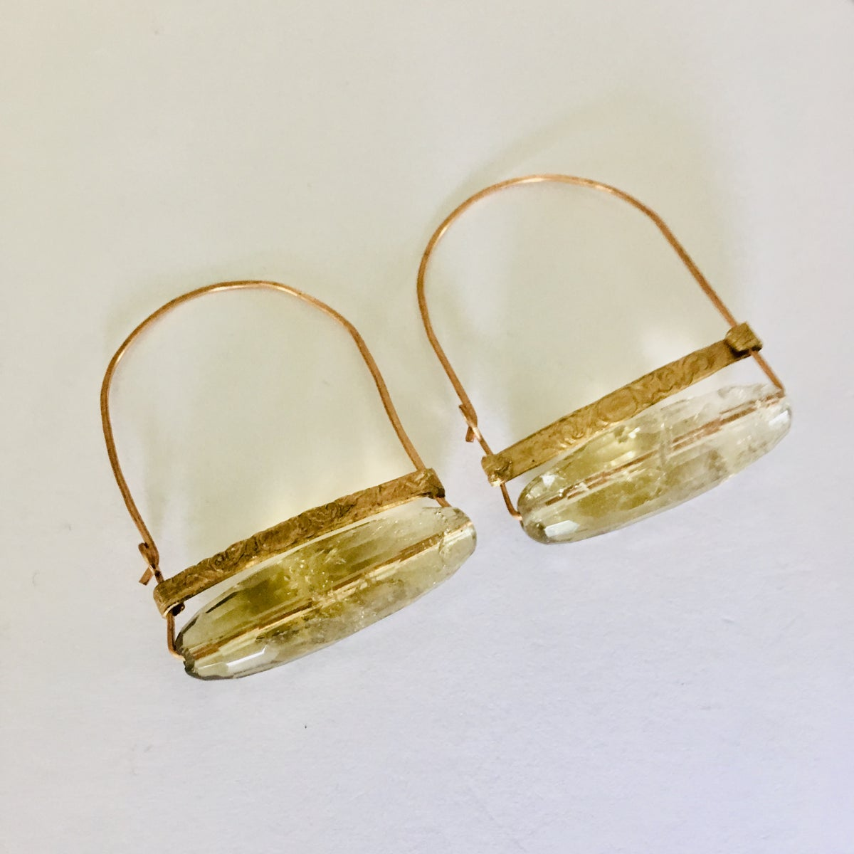 Image of Faceted Citrine Hammered Hoops