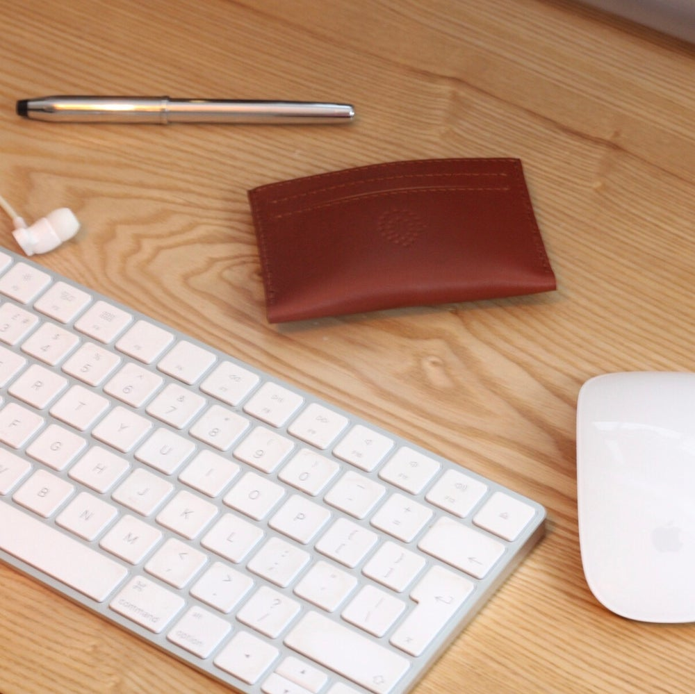 Image of Beech vegetable tanned leather card sleeve in tan