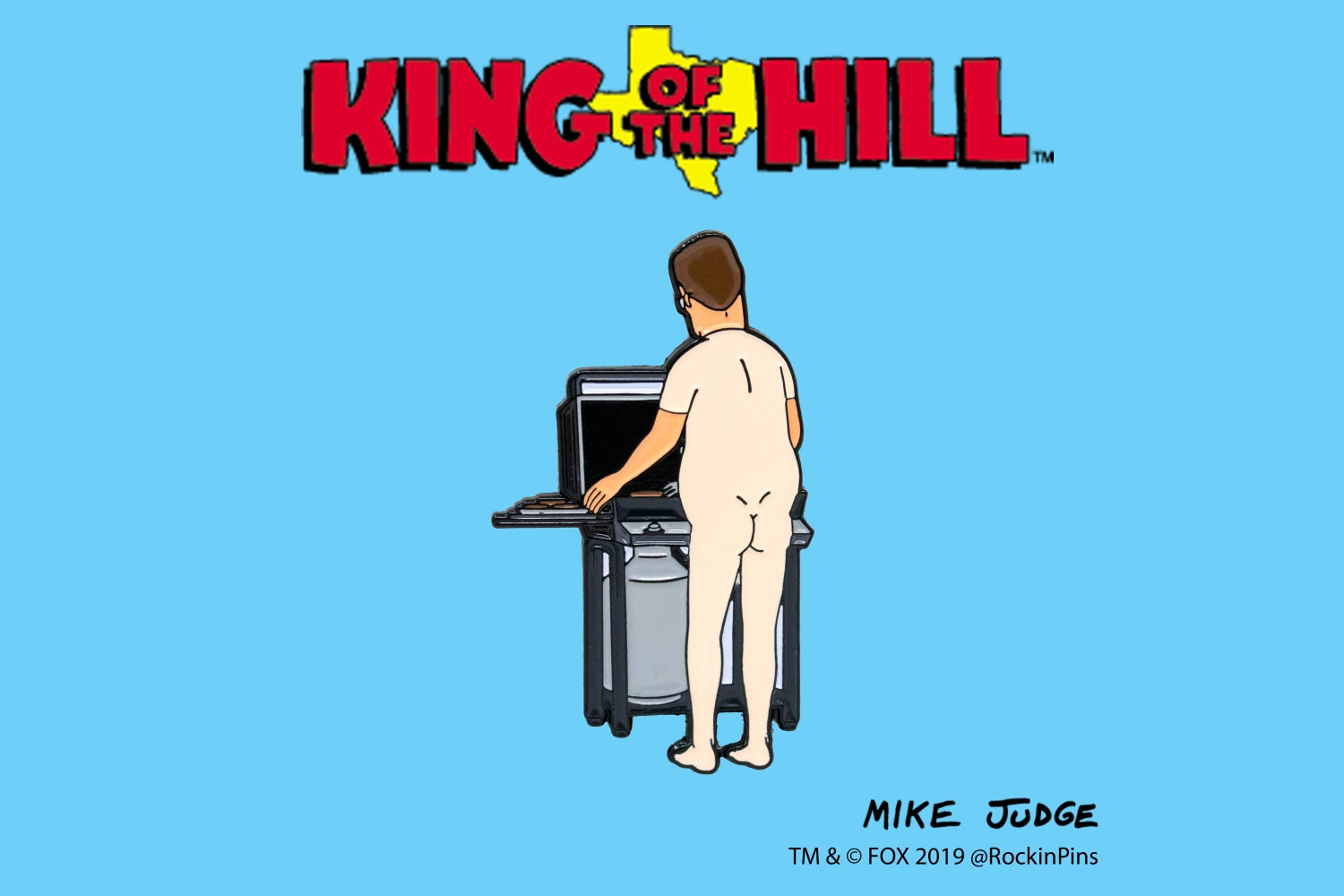 Image of King of the Hill - Hank Grilling Naked Enamel Pin