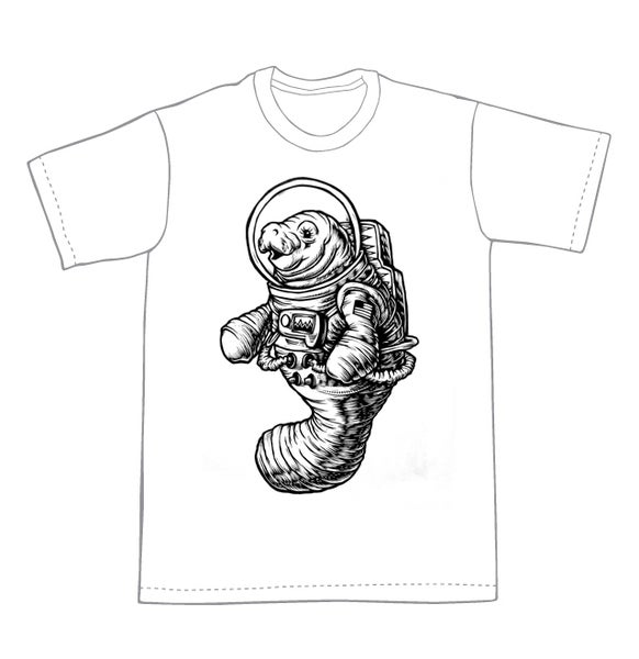 Image of Space Manatee T-shirt **FREE SHIPPING**