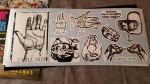 "Image of Sheet of 11 iwillnot stickers and 1 ""Smashed"" Postcard"