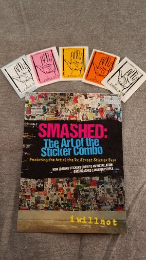 """Image of iwillnot multi color mini hand stickers and 1 """"Smashed"""" Postcard"""