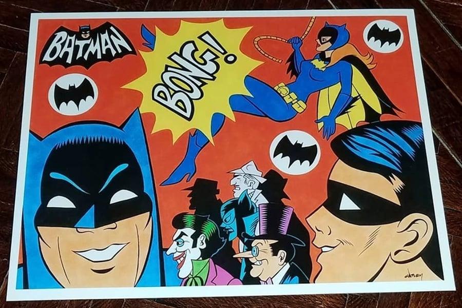 Image of BATMAN & BATGIRL '67 TV SERIES OPENING TRIBUTE PRINT - 11x14!
