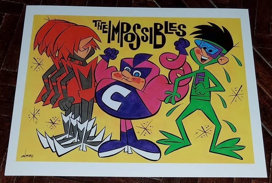 Image of THE IMPOSSIBLES - SUPER TV HEROES 11x14 PRINT! HANNA-BARBERA!