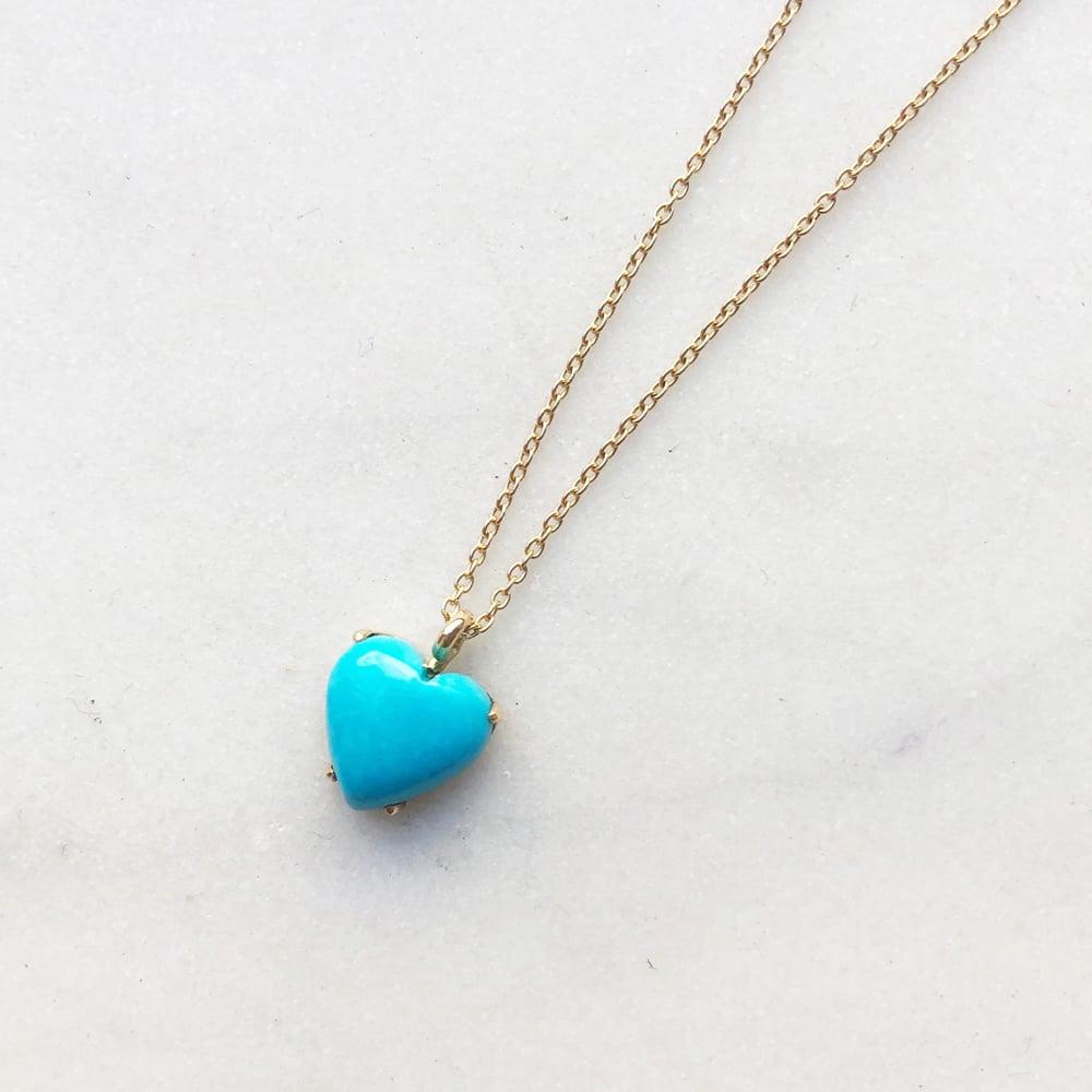 Image of Sleeping Beauty Turquoise  Heart Necklace