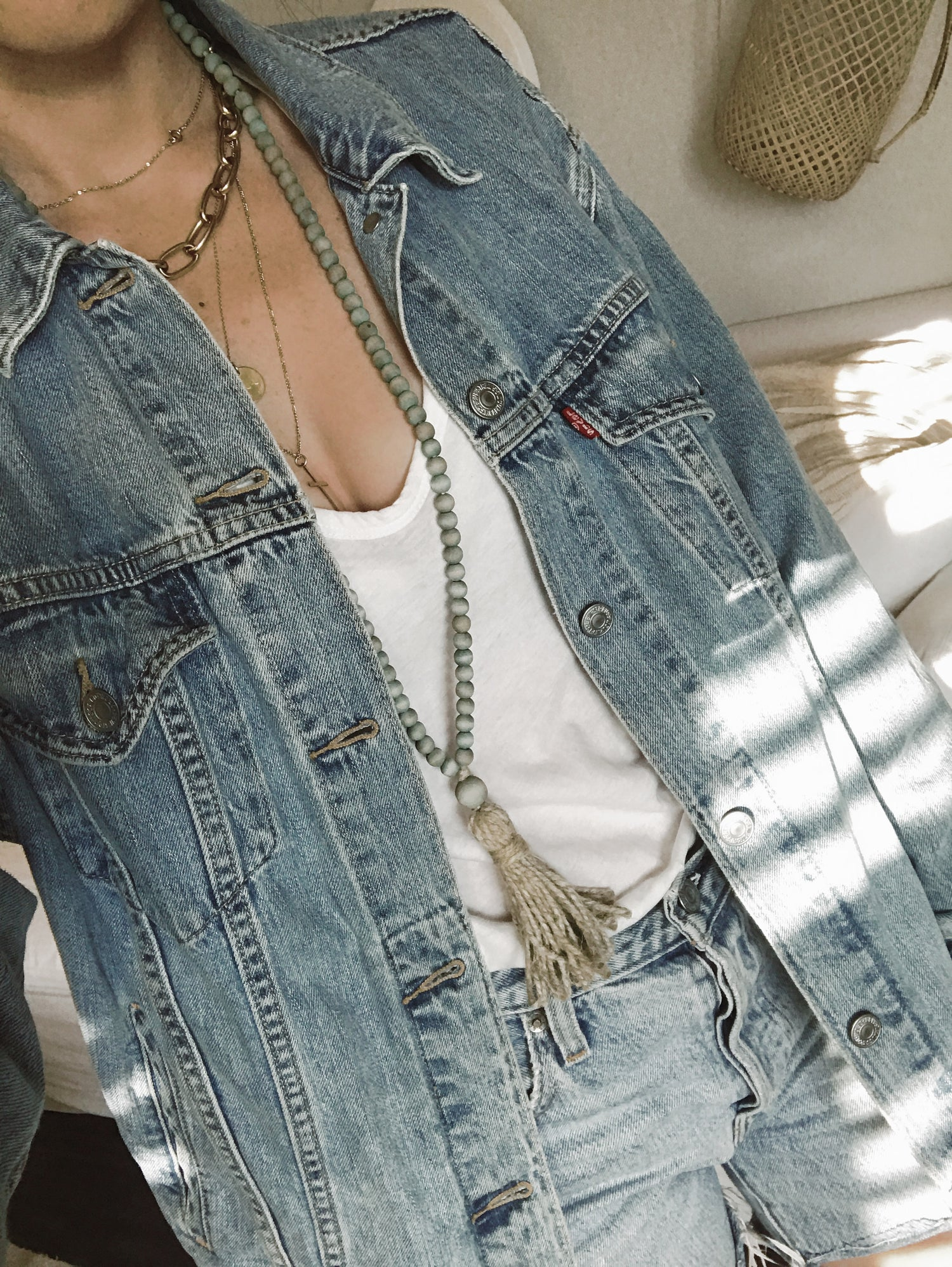 Image of Hemp Tassel Love Bead Necklace - Faded Denim