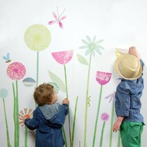 Image of Flowers Garden Scene Wall Decals