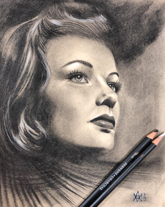 Image of Gene Tierney - Original - Charcoal on Recycled Paper