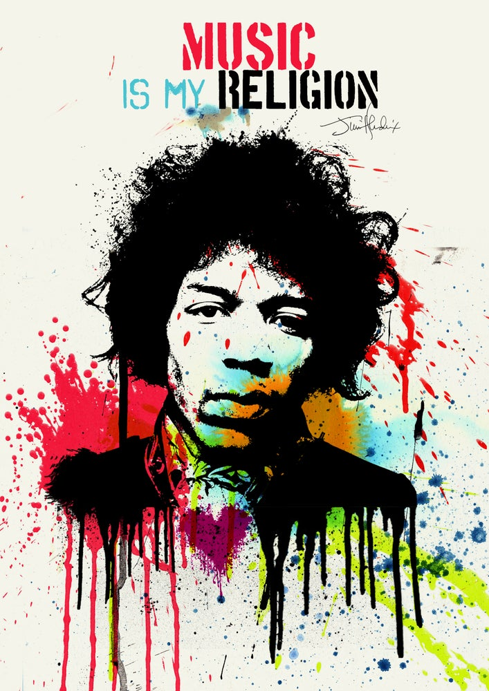 "Image of Jimi Hendrix Poster - ""Music is my religion'"