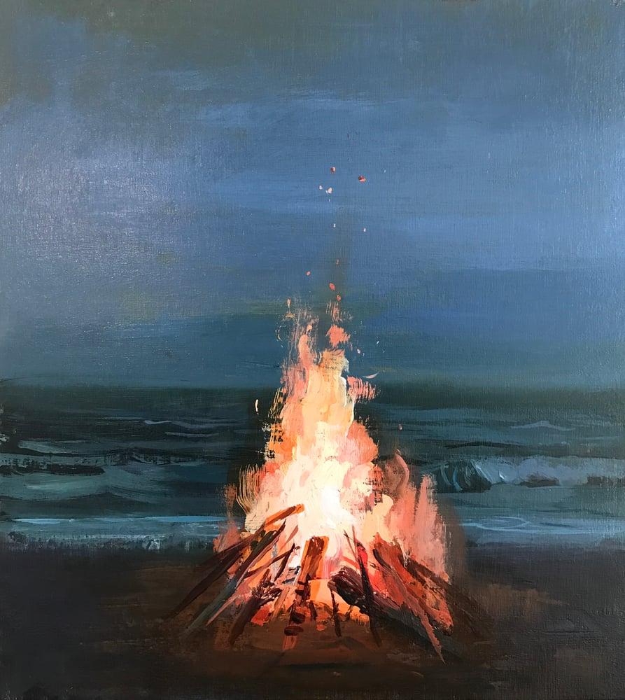 Image of Beach fire sketch