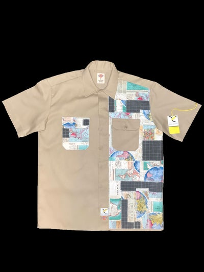 Image of AXECENTS MAP PACK S/S WORK SHIRT - KHAKI