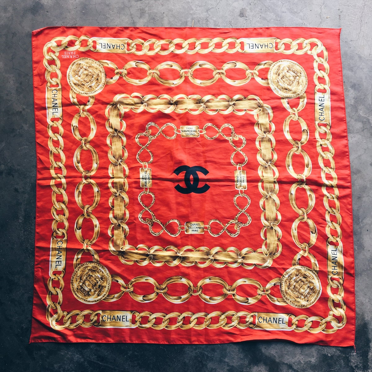 Image of Original Vintage 90's Bootleg Chanel 3x4 Tapestry.