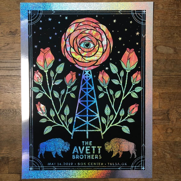 Image of The Avett Brothers Tulsa 5.14.2019 GLITTER Foil Variant