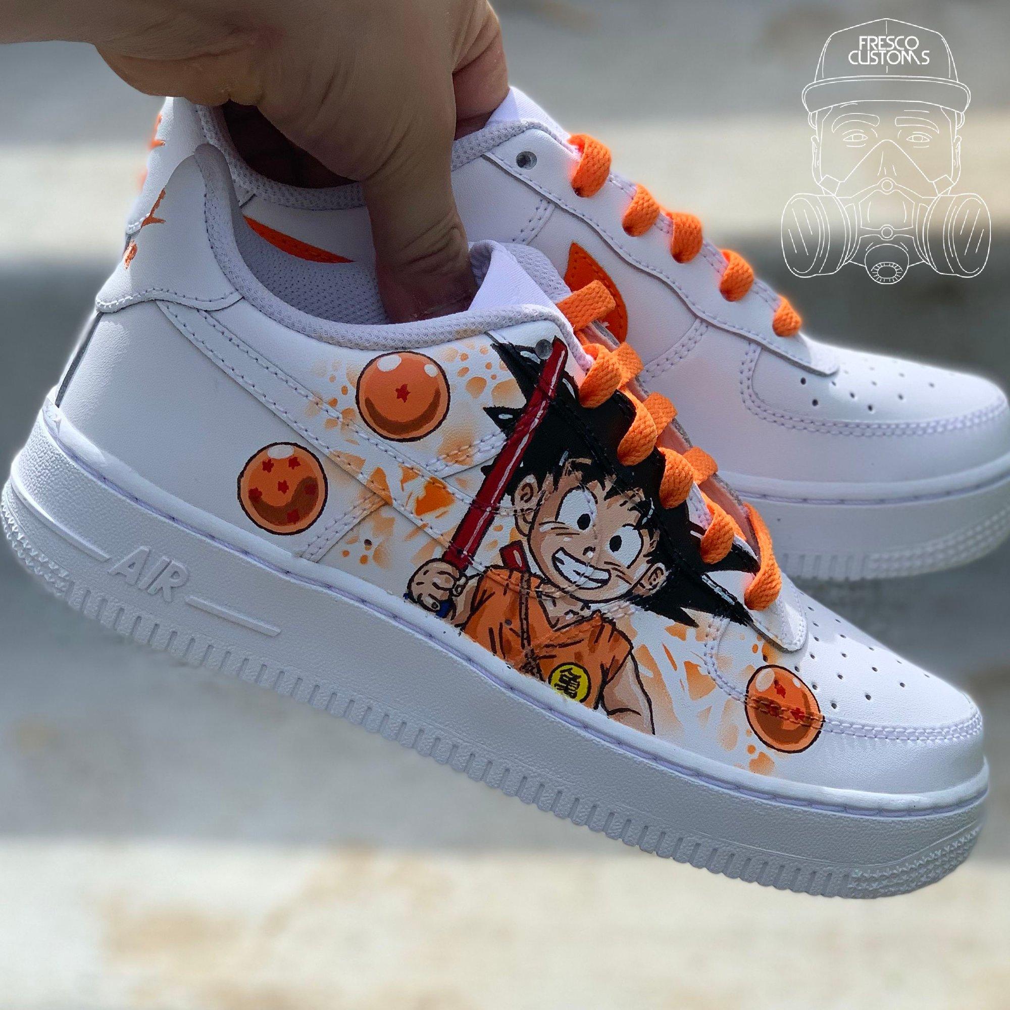 Perder la paciencia Colapso Mar  Custom Baby Goku Nike Air Forces | Fresco Customs