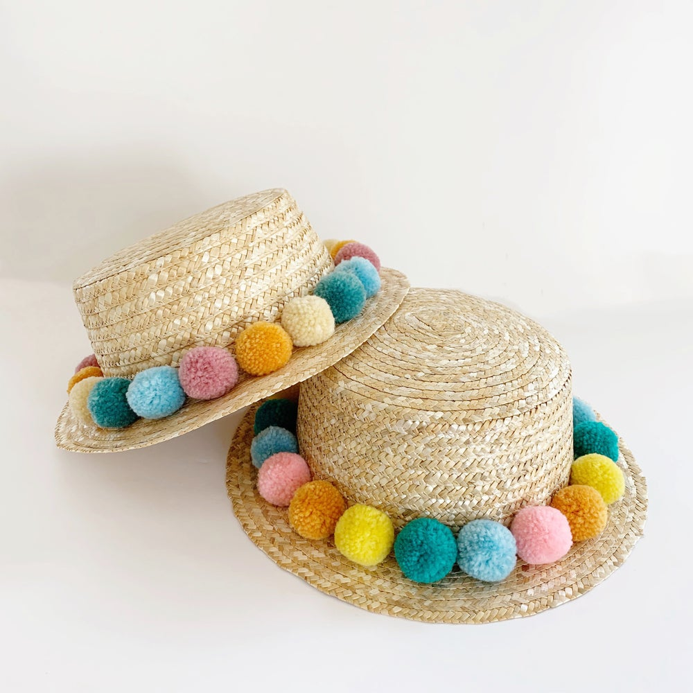 Image of Rainbow Pom Boater Hats