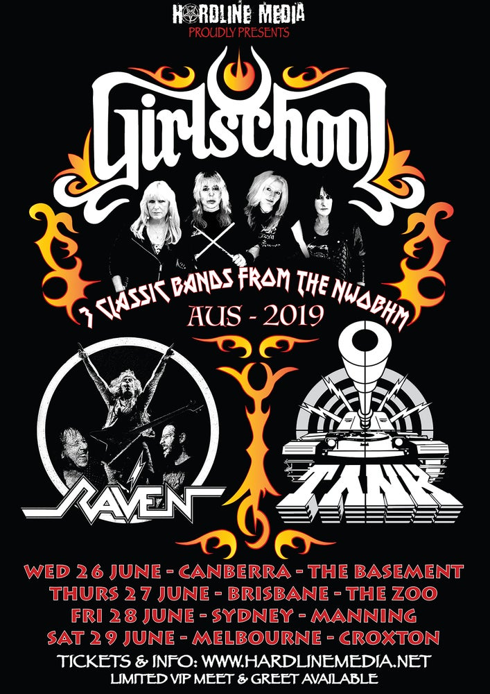 Image of VIP TICKET - GIRLSCHOOL + RAVEN + TANK - CANBERRA, BASEMENT - WED 26 JUNE