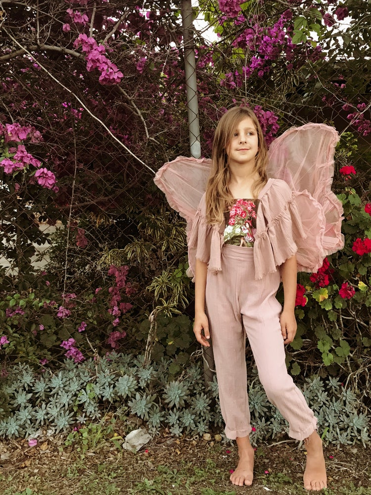 Image of 'pixie' flower fairy overalls in dusty pink