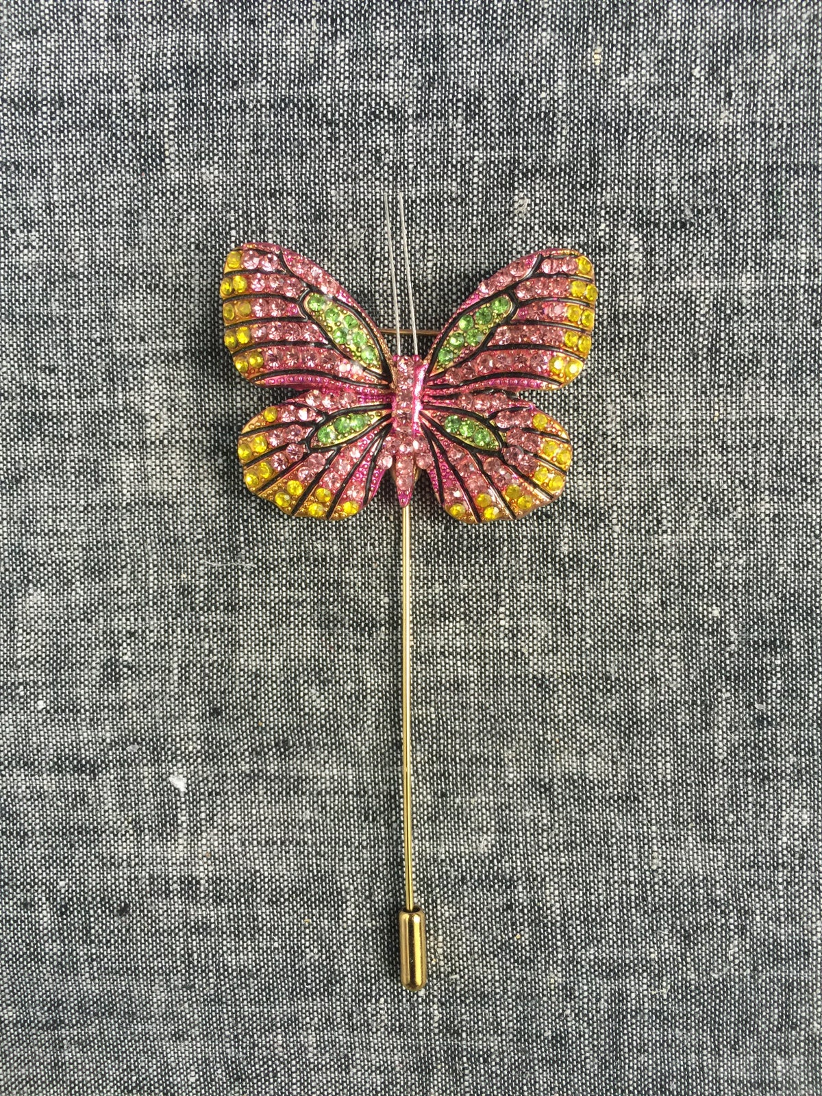 Image of Butterfly Lapel Pin (pink, yellow, green)