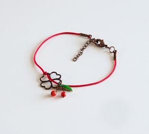 Image of Bracelets Cordon Cerises et Cordon Fleur - Fantaisie