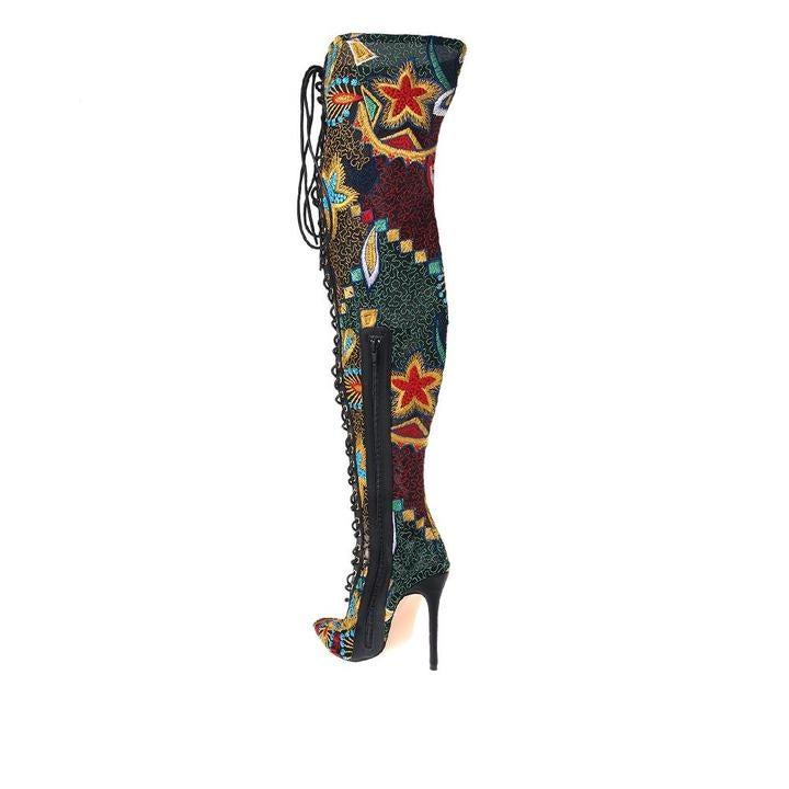 Image of Privileged Fonesca Multi Color Thigh High Boots