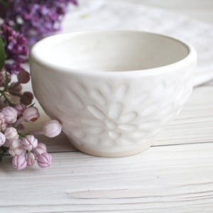 Image of Small White Ceramic Bowl, Modern Matte Glaze, Hand Carved Stoneware Pottery, Made in USA
