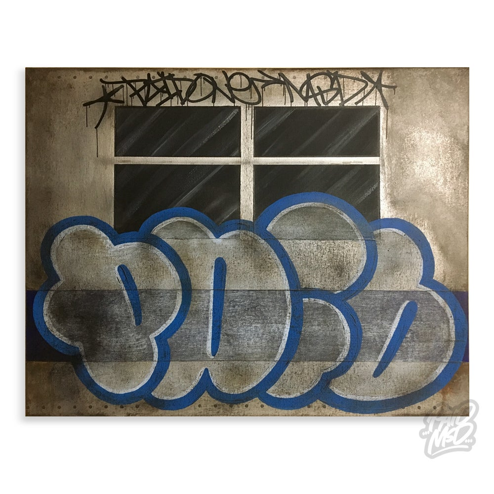 "Image of 16"" x 20"" - Paid - Weathered Panel Throwie"