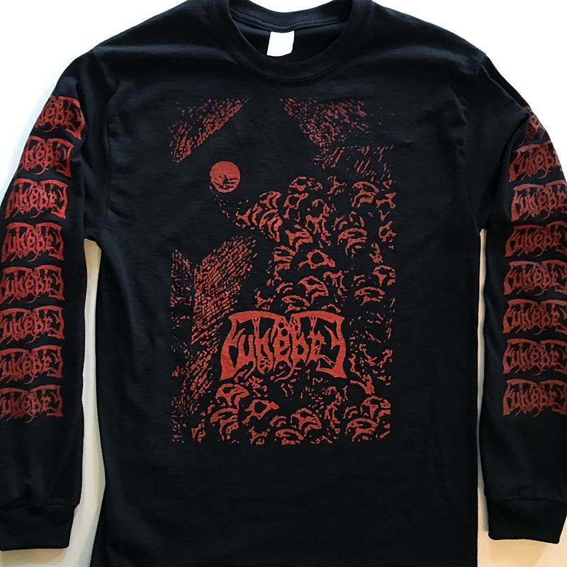 Image of Funebre - Long Sleeve T-shirt with logo Sleeve prints