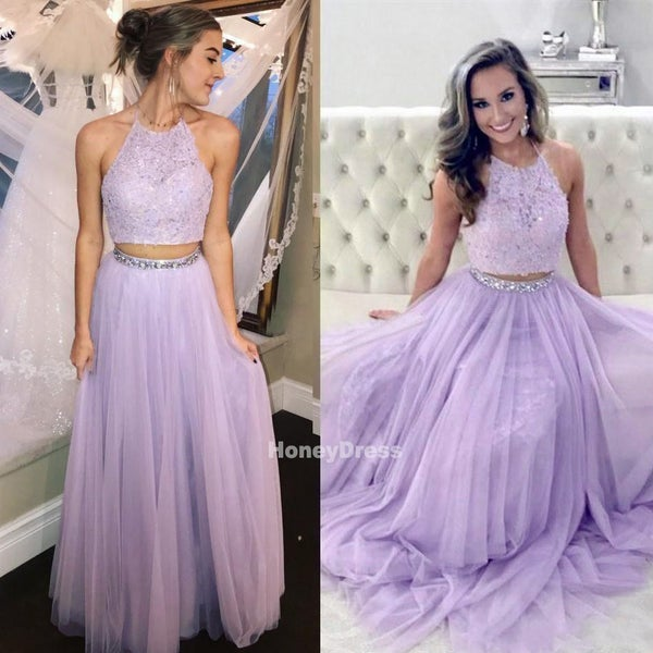 Image of Lilac Tulle Lace Two-Piece Halter Neckline Long Prom Dresses, Formal Evening Gowns With Beaded Belt