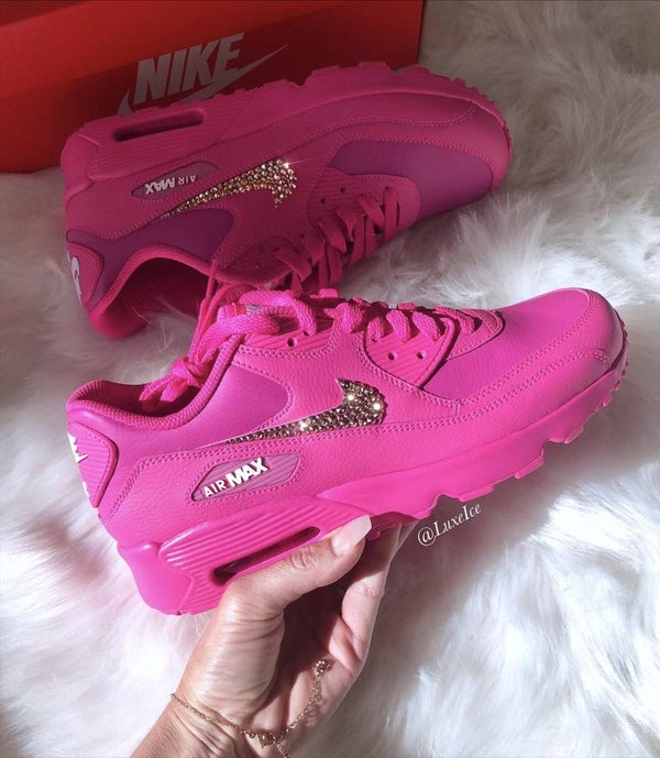 Image of Swarovski Nike Air Max 90 Laser Fuchsia Made with Rose Gold SWAROVSKI® Crystals.