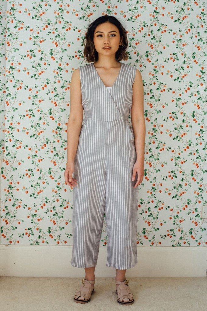 Image of SOL sleeveless linen jumpsuit