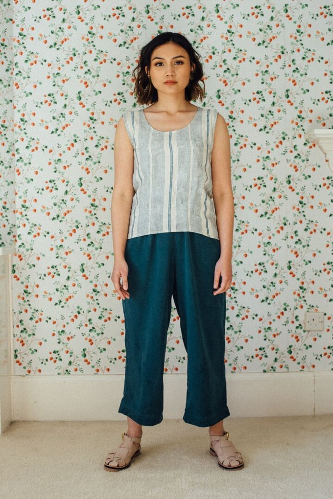 Image of BILLY teal tencel trousers