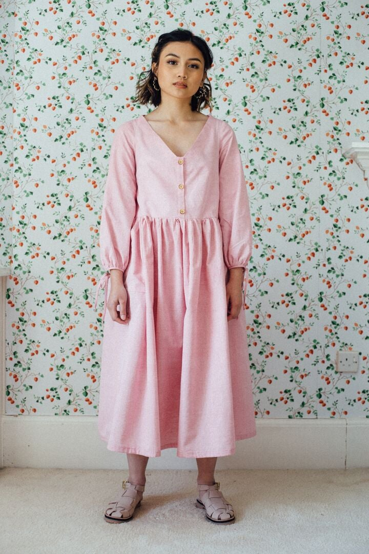 Image of HERB dress in pink organic cotton