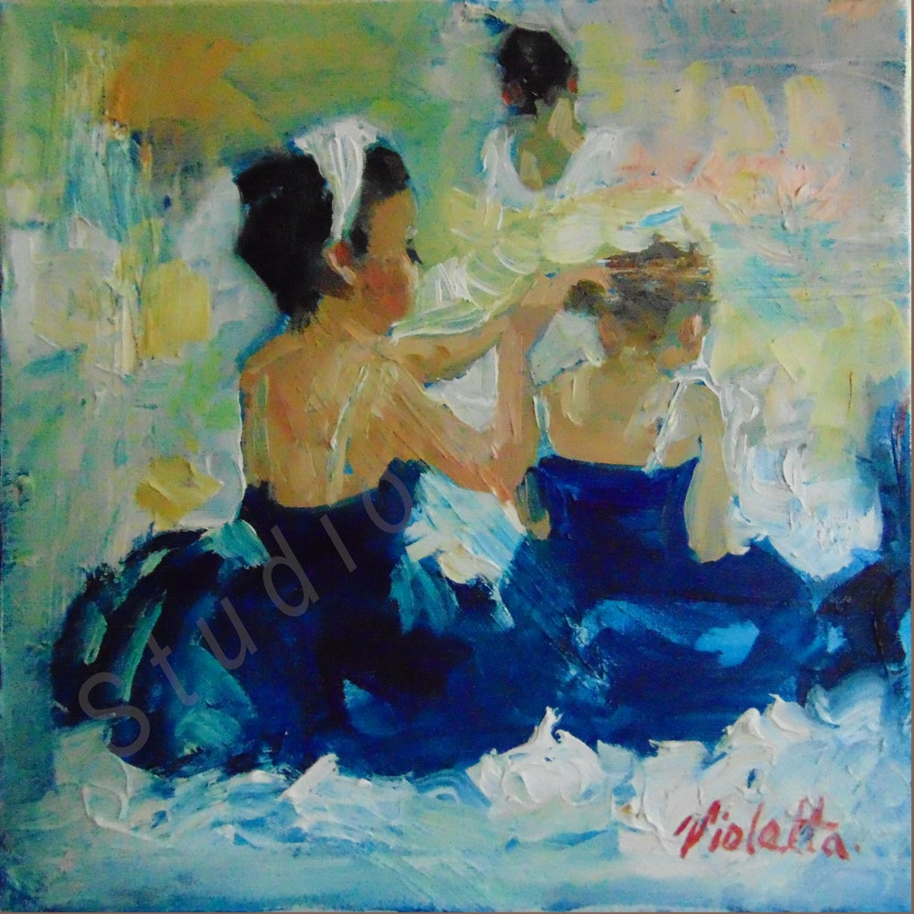 Image of Ballerinas in Deep Blue by Violetta Chandler