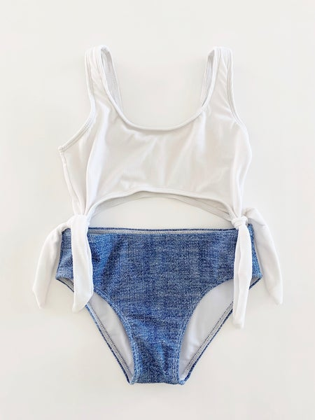 Image of The Summerland Swimsuit - White and Denim