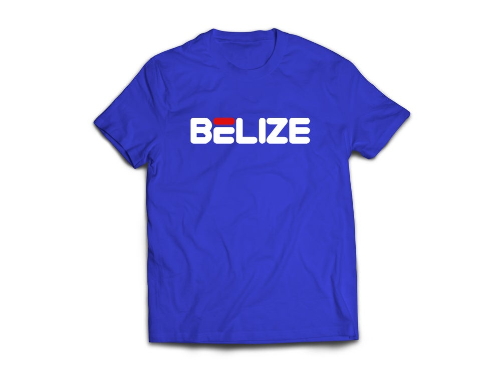 Image of BELIZE - T-SHIRT - ROYAL BLUE/WHITE(RED)LOGO