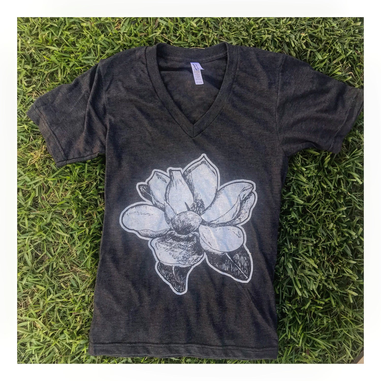Image of Adult V neck Magnolia in Charcoal Black