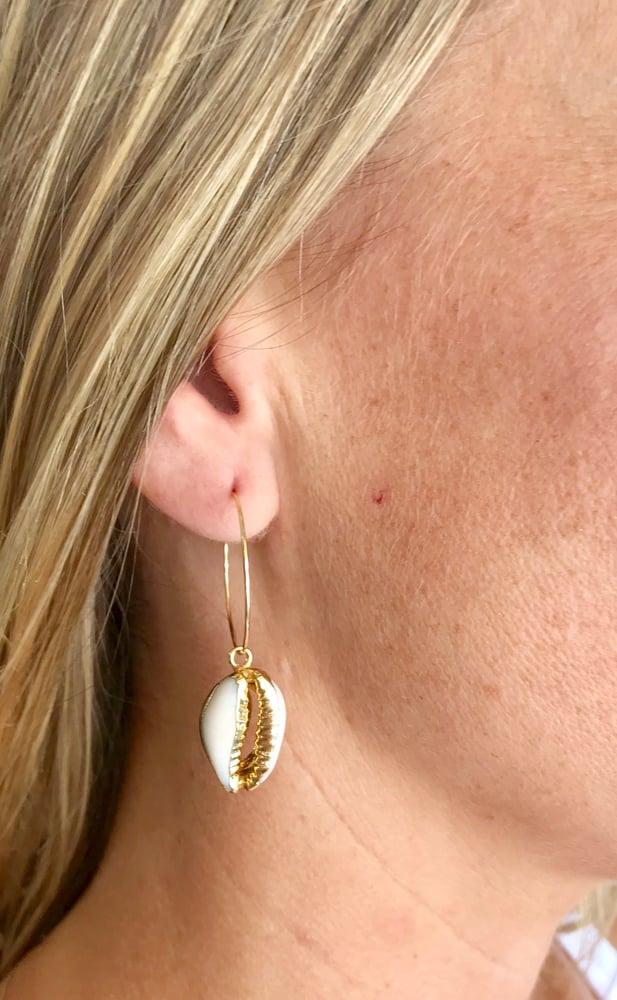 Image of Cowrie dream hoop earrings