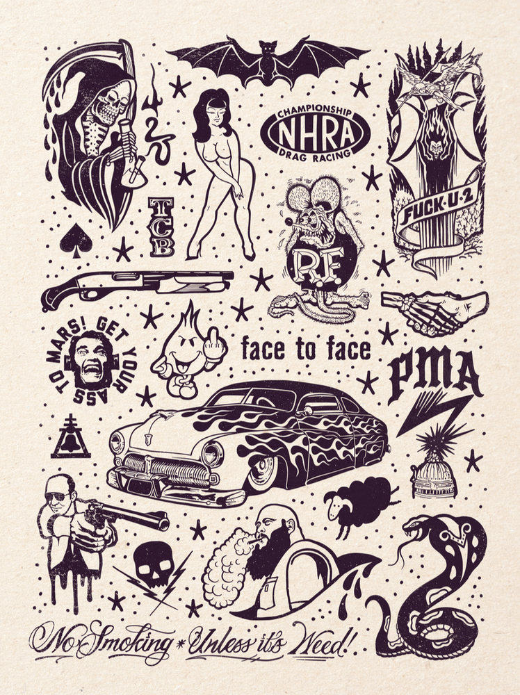 Image of PMA Tattoo Flash 18x24 inch print by Ed Hume