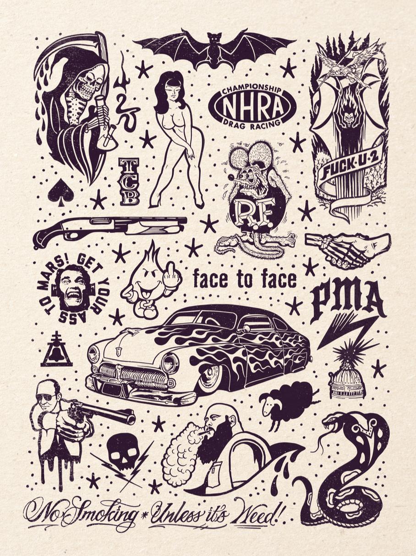 Image of PMA Tattoo Flash 18x24 inch print by Ed Hume