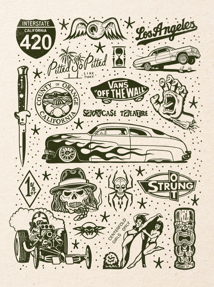 Image of STRUNG OUT Tattoo Flash 18x24 inch print by Ed Hume