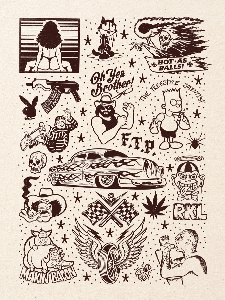 Image of OH YEA BROTHER Tattoo Flash 18x24 inch print by Ed Hume