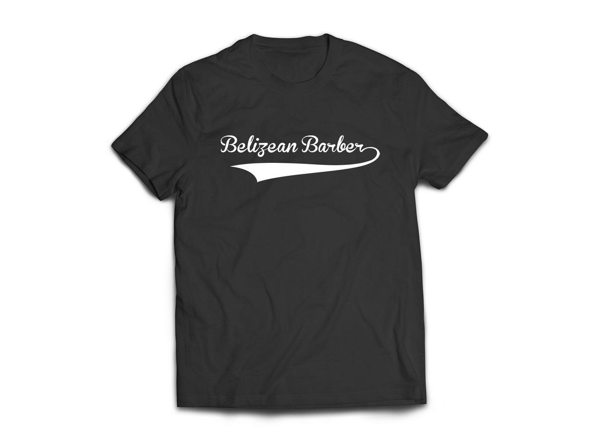 Image of BELIZE - T-SHIRT - BLACK/WHITE (BELIZEAN BARBER LOGO)