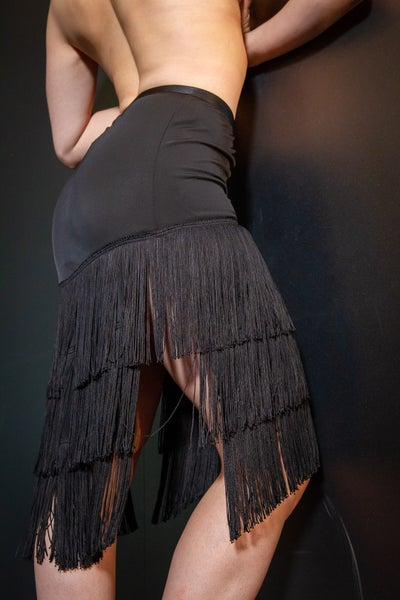 Image of Fringe Split Latin Skirt J1704B