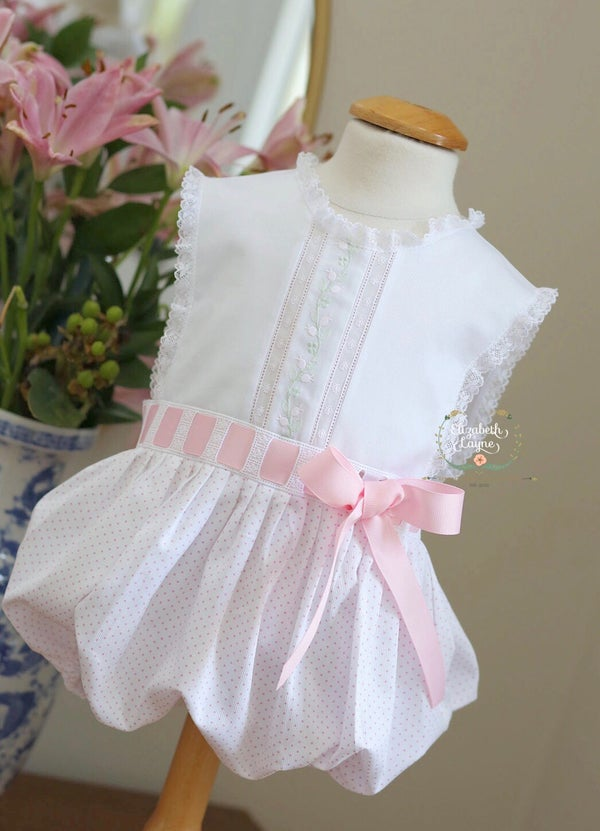 Image of Pink dot & Ecru Primrose Sunsuit & Dress