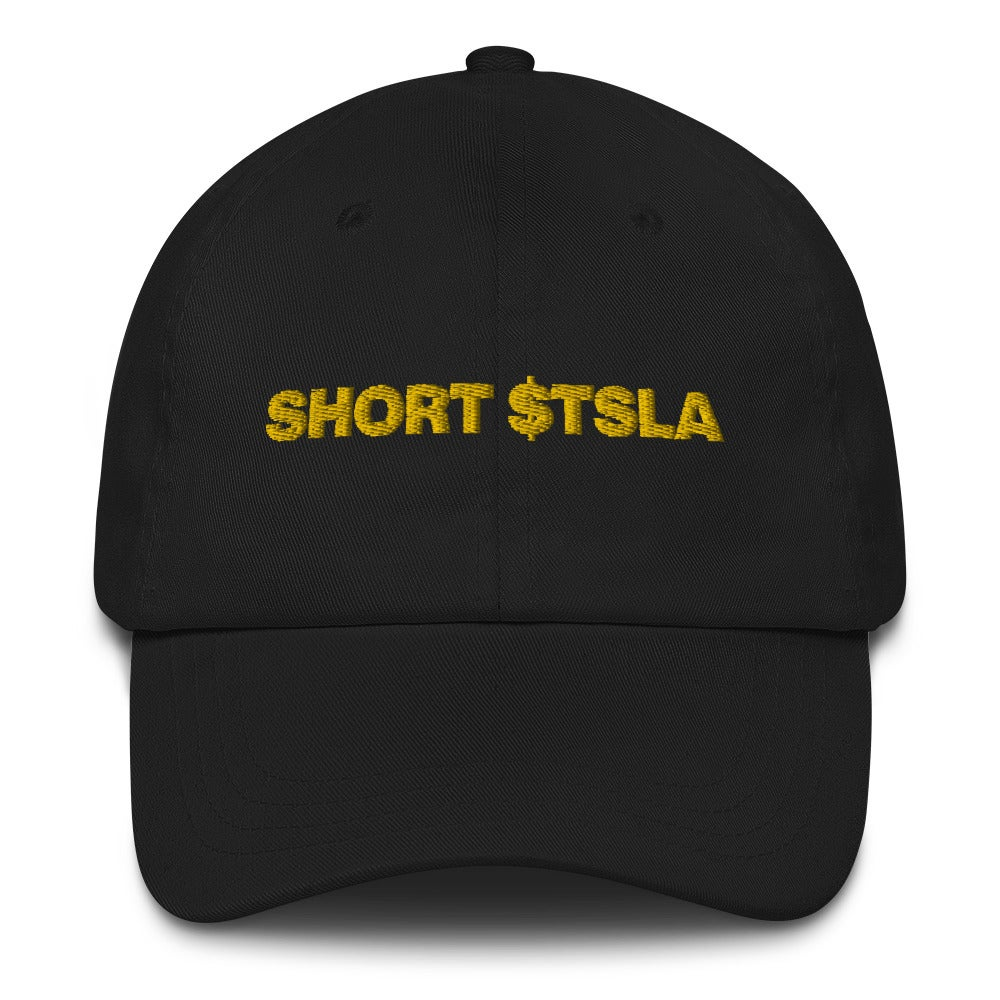 Image of short tesla dad hat (black)