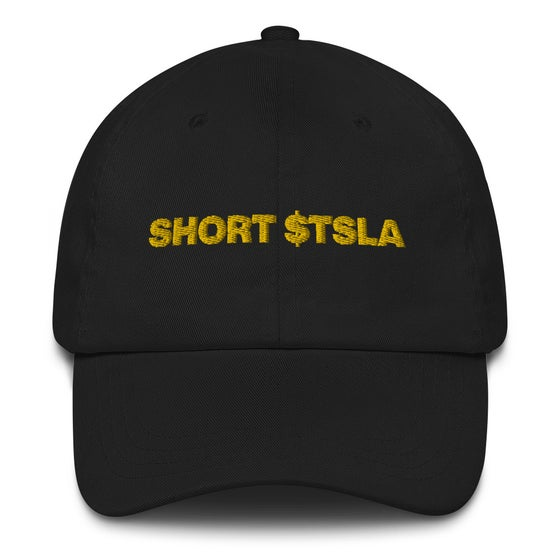 Image of short tesla dad hat (black)